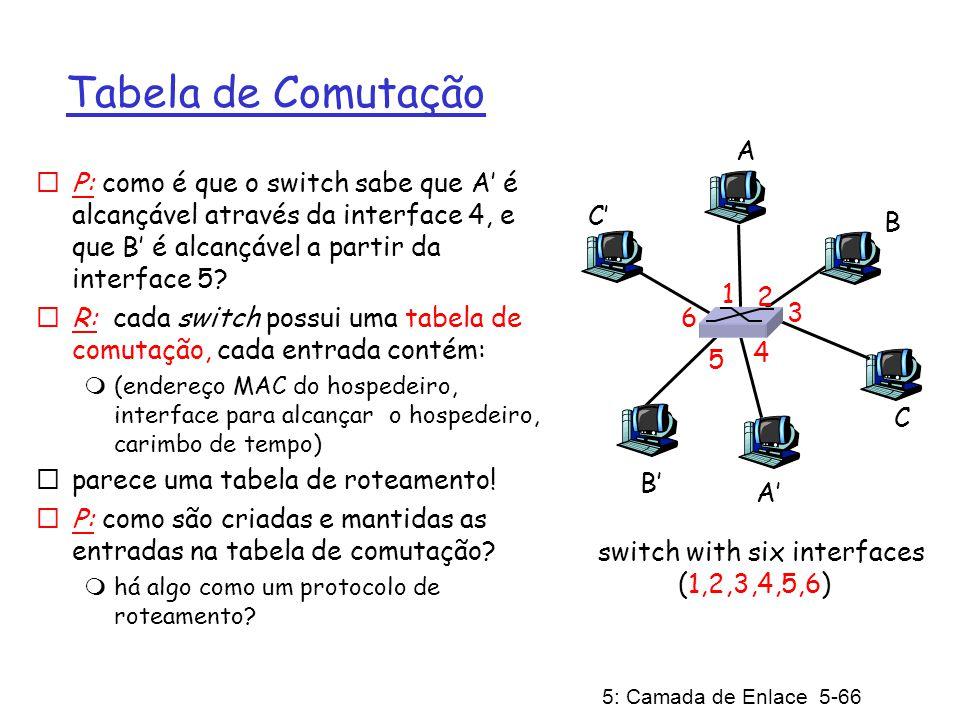 5: Camada de Enlace 5-66 Tabela de Comutação P: como é que o switch sabe que A é alcançável através da interface 4, e que B é alcançável a partir da i