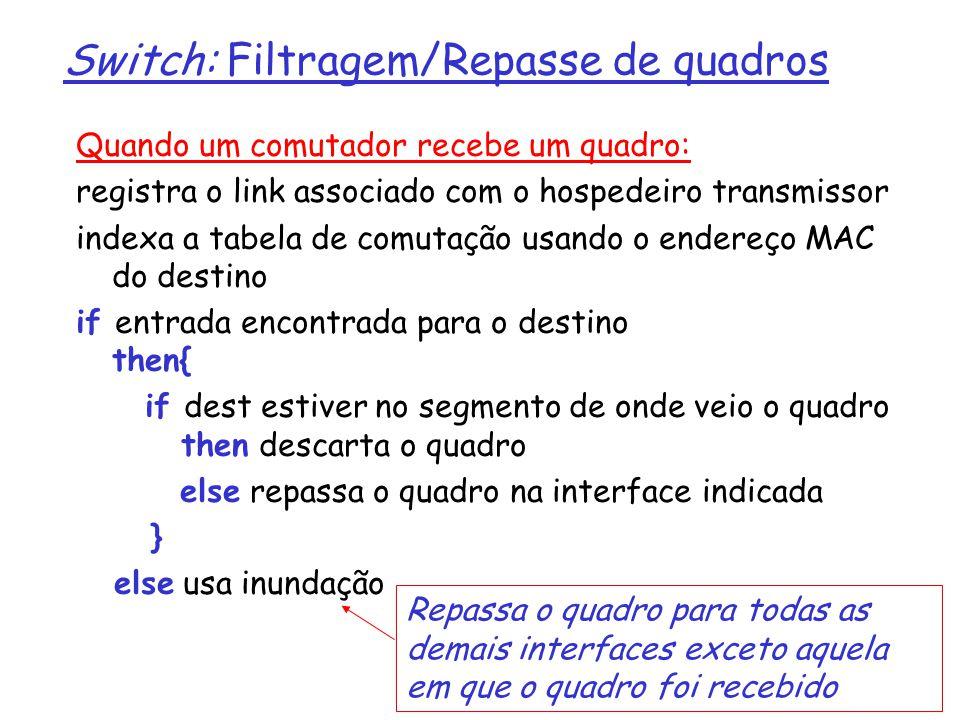 5: Camada de Enlace 5-68 5: Camada de Enlace Switch: Filtragem/Repasse de quadros Quando um comutador recebe um quadro: registra o link associado com