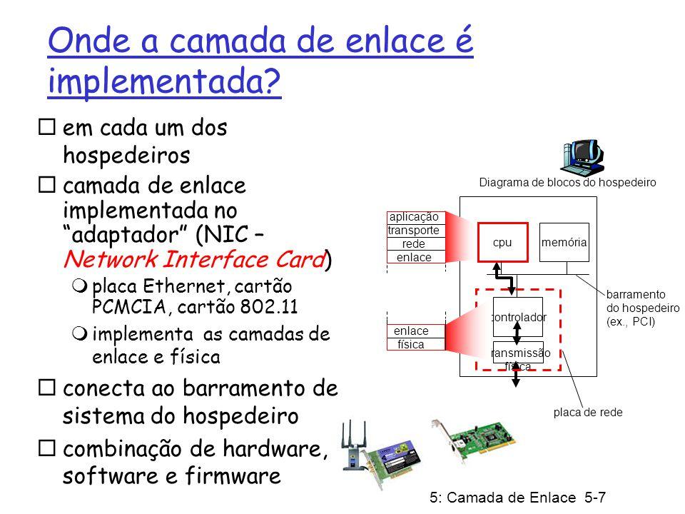 5: Camada de Enlace 5-7 Onde a camada de enlace é implementada? em cada um dos hospedeiros camada de enlace implementada no adaptador (NIC – Network I