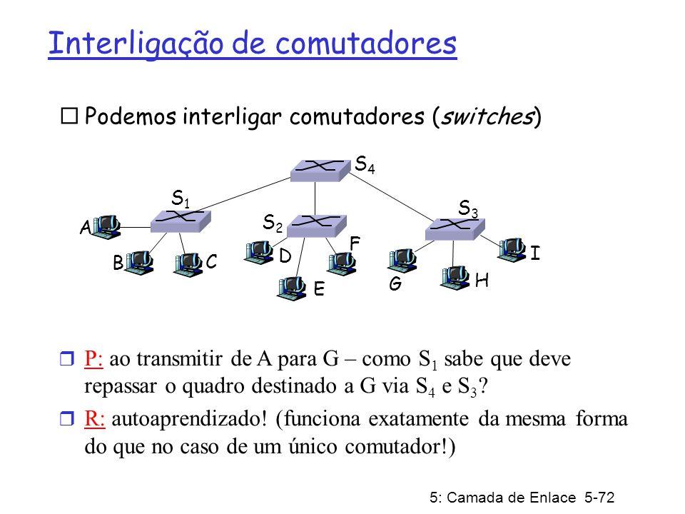 5: Camada de Enlace 5-72 Interligação de comutadores Podemos interligar comutadores (switches) A B r P: ao transmitir de A para G – como S 1 sabe que