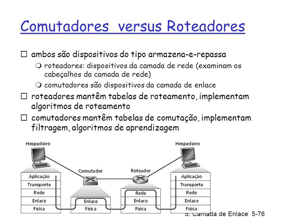 5: Camada de Enlace 5-76 Comutadores versus Roteadores ambos são dispositivos do tipo armazena-e-repassa roteadores: dispositivos da camada de rede (e
