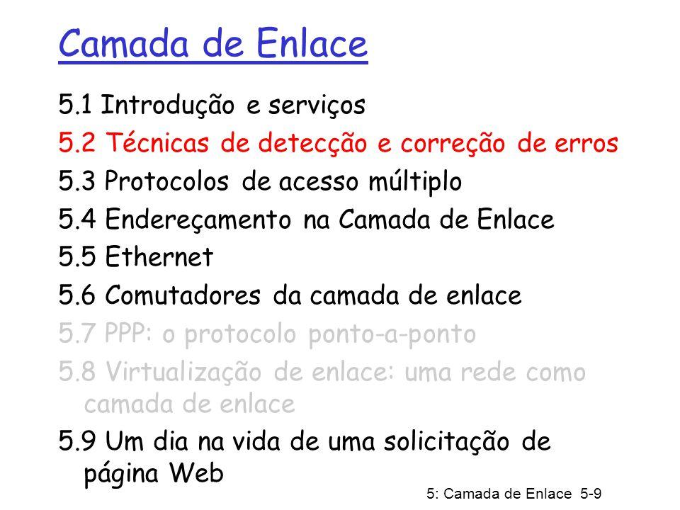 5: Camada de Enlace 5-9 Camada de Enlace 5.1 Introdução e serviços 5.2 Técnicas de detecção e correção de erros 5.3 Protocolos de acesso múltiplo 5.4