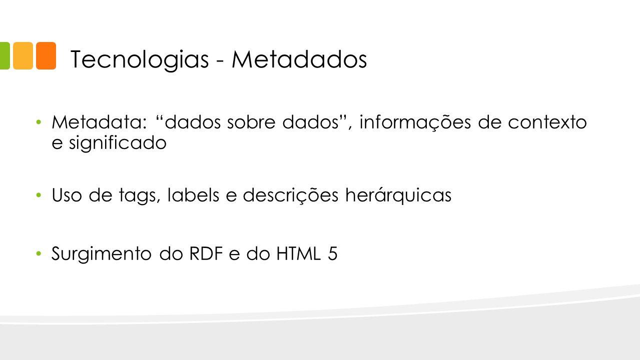 Tecnologias - Metadados Metadata: dados sobre dados, informações de contexto e significado Uso de tags, labels e descrições herárquicas Surgimento do