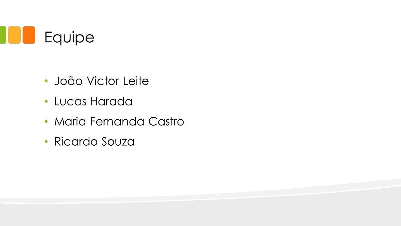 Equipe João Victor Leite Lucas Harada Maria Fernanda Castro Ricardo Souza