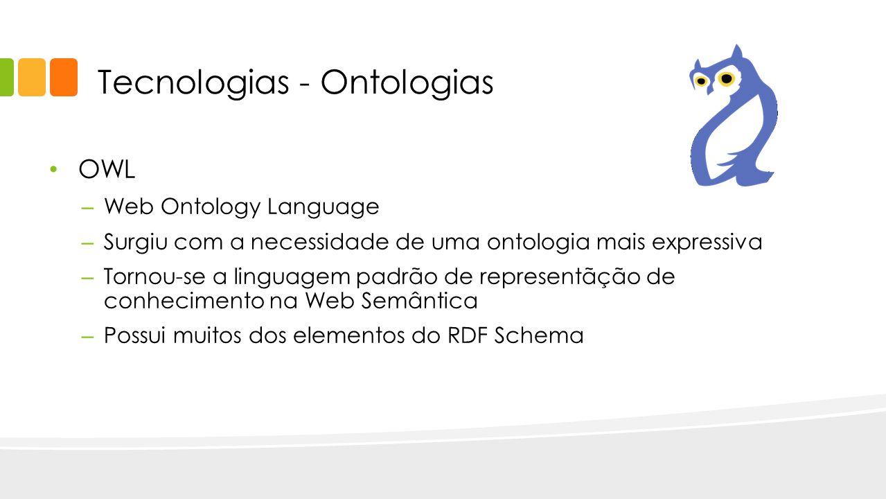OWL – Web Ontology Language – Surgiu com a necessidade de uma ontologia mais expressiva – Tornou-se a linguagem padrão de representãção de conheciment