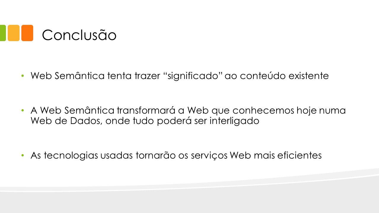 Conclusão Web Semântica tenta trazer significado ao conteúdo existente A Web Semântica transformará a Web que conhecemos hoje numa Web de Dados, onde