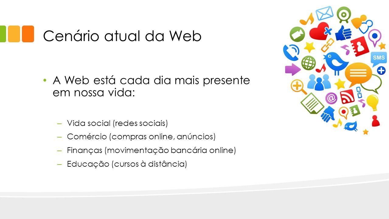Cenário atual da Web A Web está cada dia mais presente em nossa vida: – Vida social (redes sociais) – Comércio (compras online, anúncios) – Finanças (