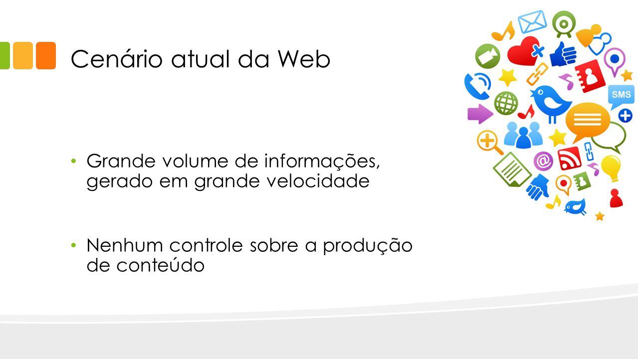 Cenário atual da Web Grande volume de informações, gerado em grande velocidade Nenhum controle sobre a produção de conteúdo