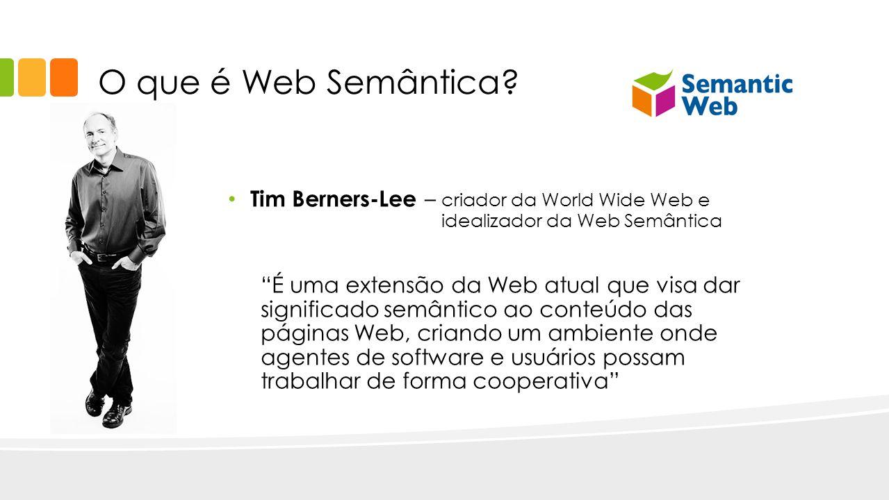 O que é Web Semântica? Tim Berners-Lee – criador da World Wide Web e idealizador da Web Semântica É uma extensão da Web atual que visa dar significado