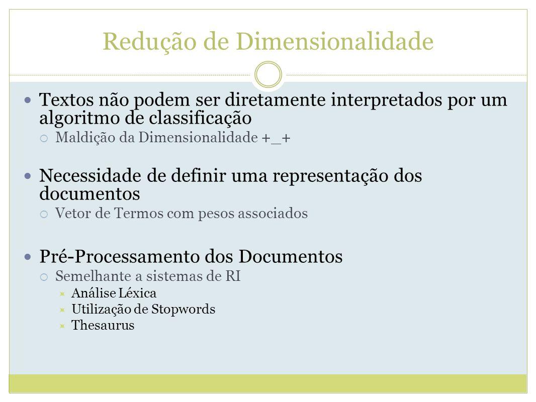 Redução de Dimensionalidade Textos não podem ser diretamente interpretados por um algoritmo de classificação Maldição da Dimensionalidade +_+ Necessidade de definir uma representação dos documentos Vetor de Termos com pesos associados Pré-Processamento dos Documentos Semelhante a sistemas de RI Análise Léxica Utilização de Stopwords Thesaurus