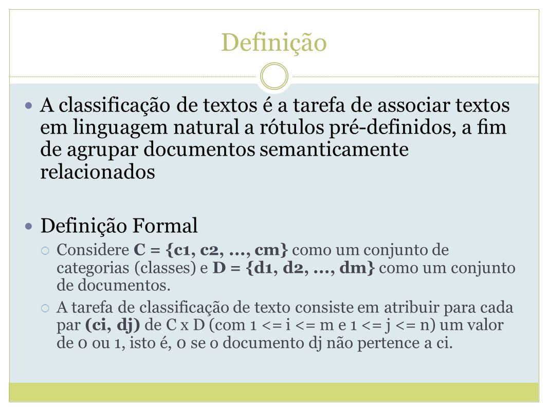 Definição A classificação de textos é a tarefa de associar textos em linguagem natural a rótulos pré-definidos, a m de agrupar documentos semanticamente relacionados Definição Formal Considere C = {c1, c2,..., cm} como um conjunto de categorias (classes) e D = {d1, d2,..., dm} como um conjunto de documentos.