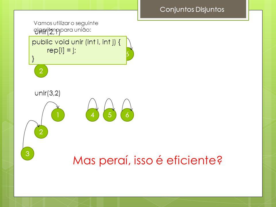 Conjuntos Disjuntos unir(2,1) 1 2 3456 unir(3,2) 1 2 3 456 public void unir (int i, int j) { rep[i] = j; } Mas peraí, isso é eficiente? Vamos utilizar