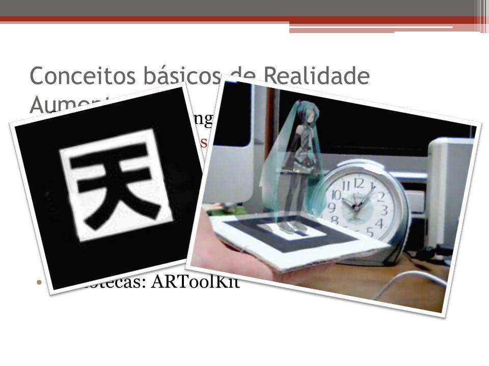 Conceitos básicos de Realidade Aumentada Sistema de tracking Alinhando objetos reais e virtuais, uso de marcadores Modos de apresentação Baseadas em monitor Video see through Optical see through Bibliotecas: ARToolKit