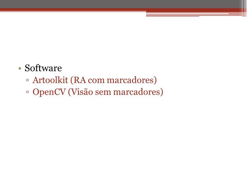 Software Artoolkit (RA com marcadores) OpenCV (Visão sem marcadores)