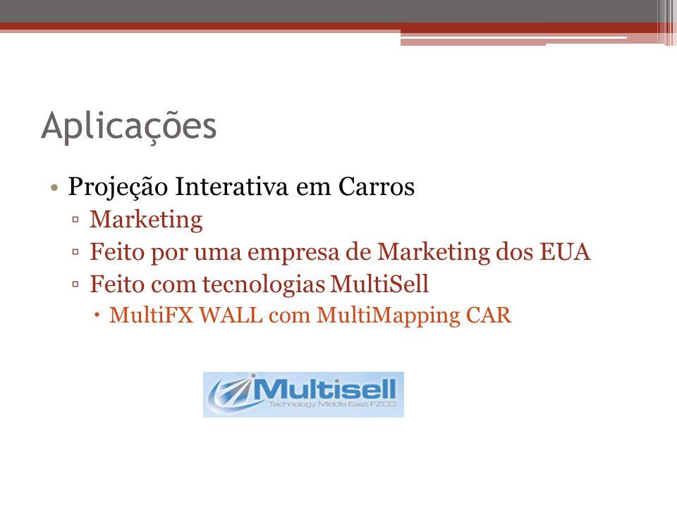 Aplicações Projeção Interativa em Carros Marketing Feito por uma empresa de Marketing dos EUA Feito com tecnologias MultiSell MultiFX WALL com MultiMapping CAR