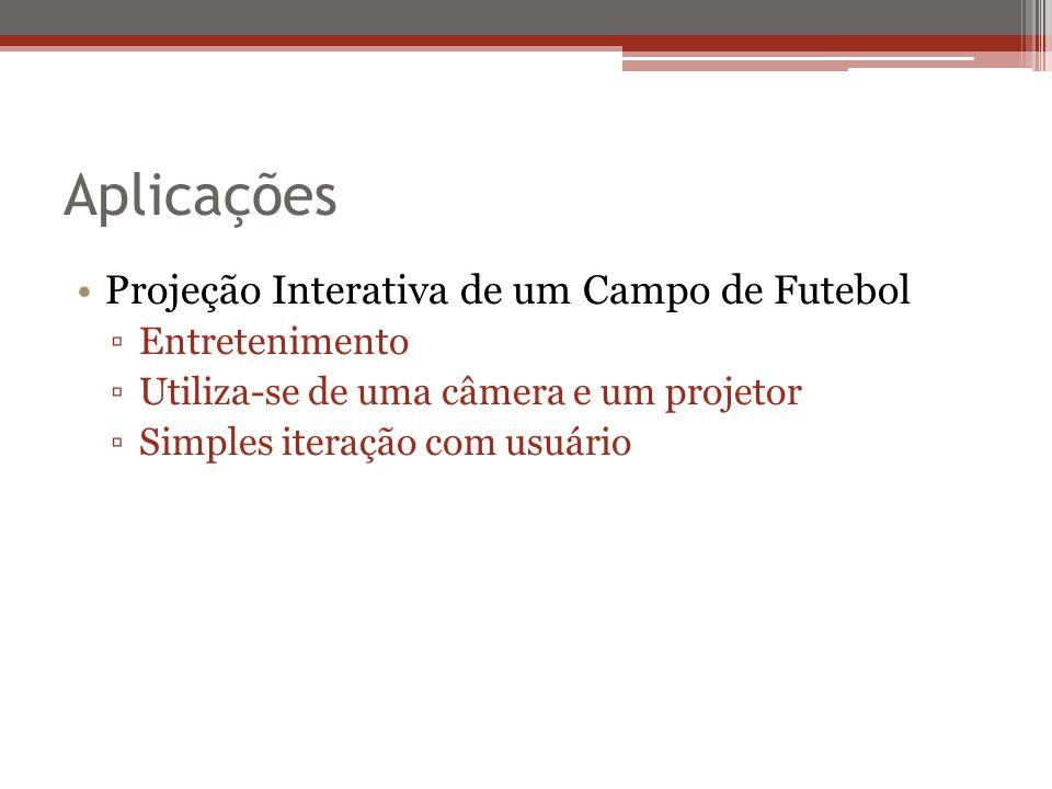 Aplicações Projeção Interativa de um Campo de Futebol Entretenimento Utiliza-se de uma câmera e um projetor Simples iteração com usuário