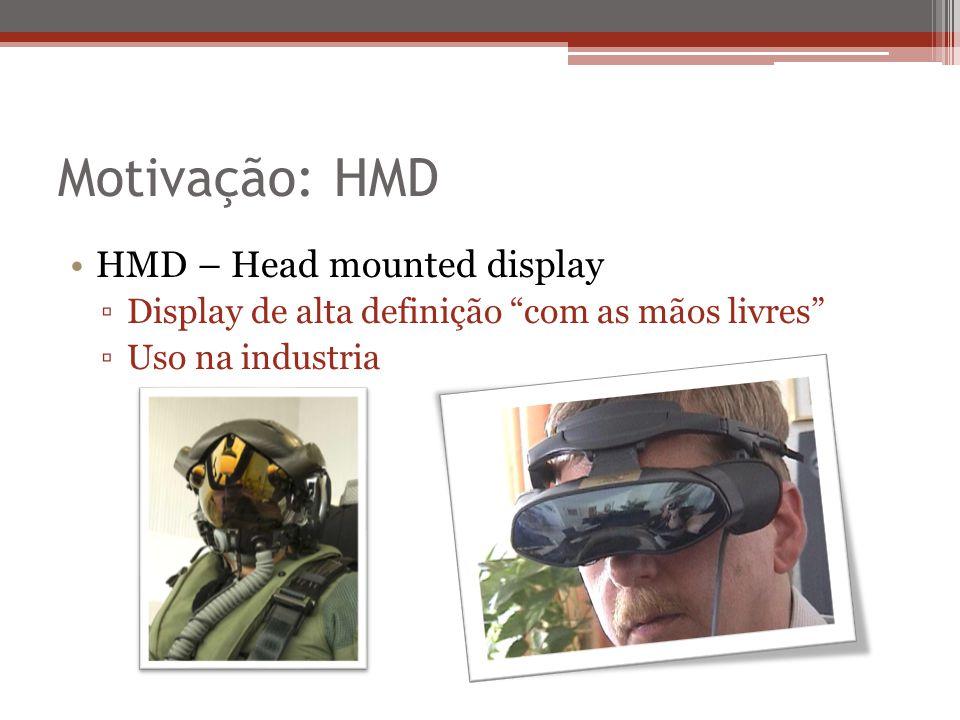 Motivação: HMD HMD – Head mounted display Display de alta definição com as mãos livres Uso na industria