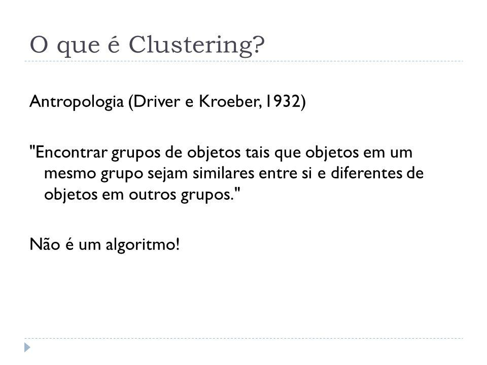 O que é Clustering? Antropologia (Driver e Kroeber, 1932)