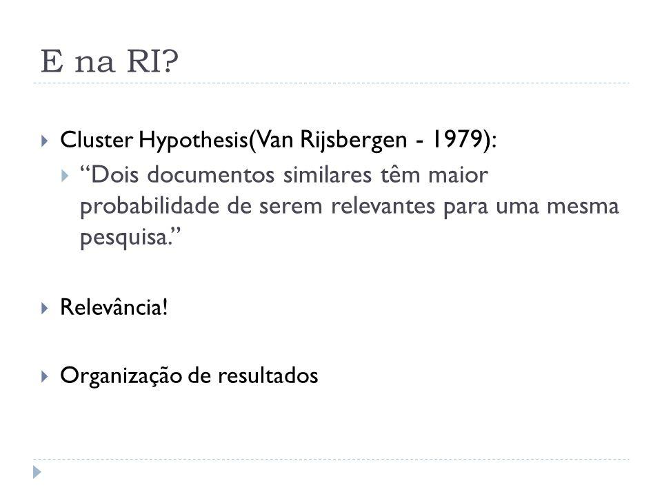 E na RI? Cluster Hypothesis (Van Rijsbergen - 1979): Dois documentos similares têm maior probabilidade de serem relevantes para uma mesma pesquisa. Re
