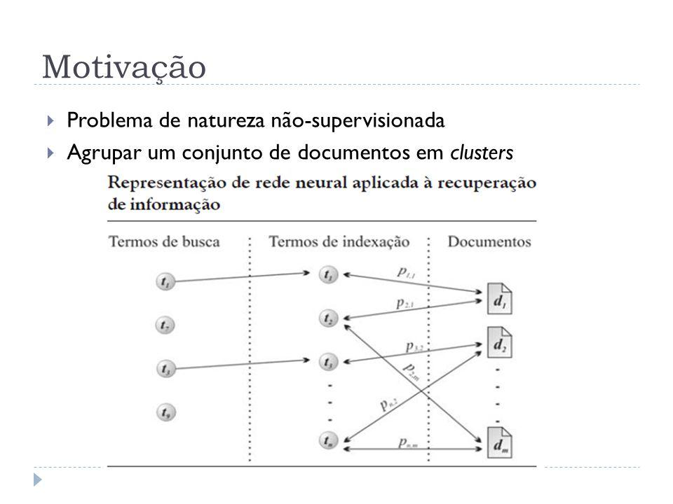 Motivação Problema de natureza não-supervisionada Agrupar um conjunto de documentos em clusters