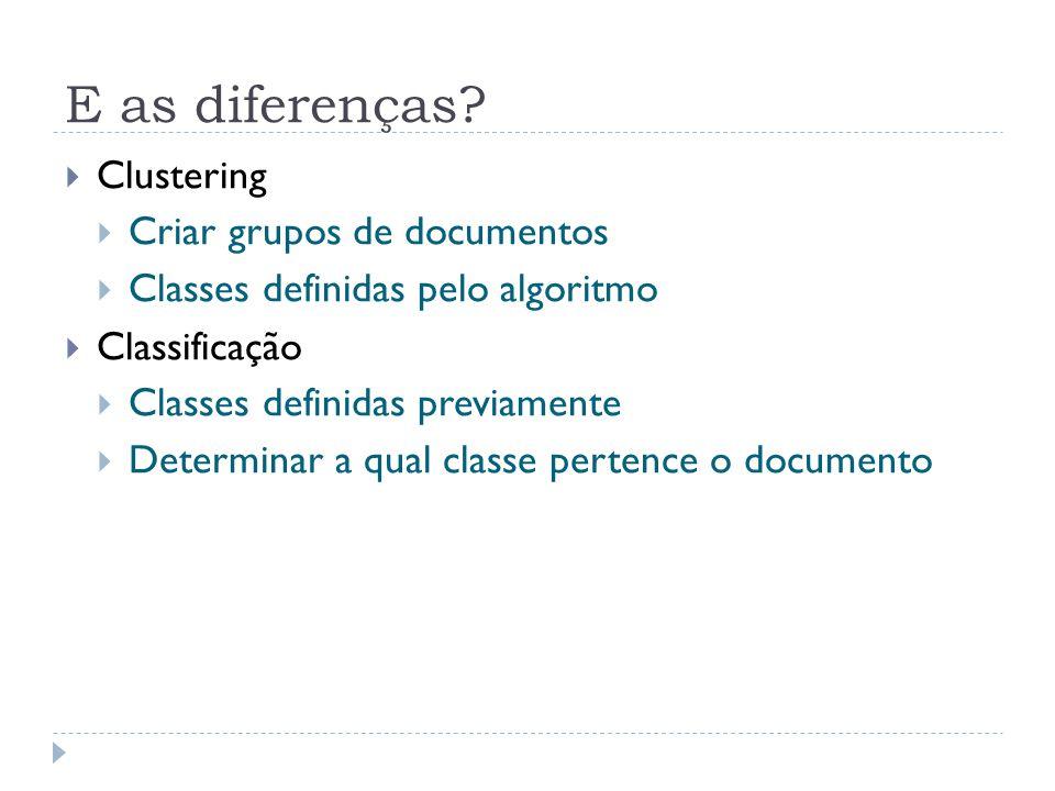 E as diferenças? Clustering Criar grupos de documentos Classes definidas pelo algoritmo Classificação Classes definidas previamente Determinar a qual