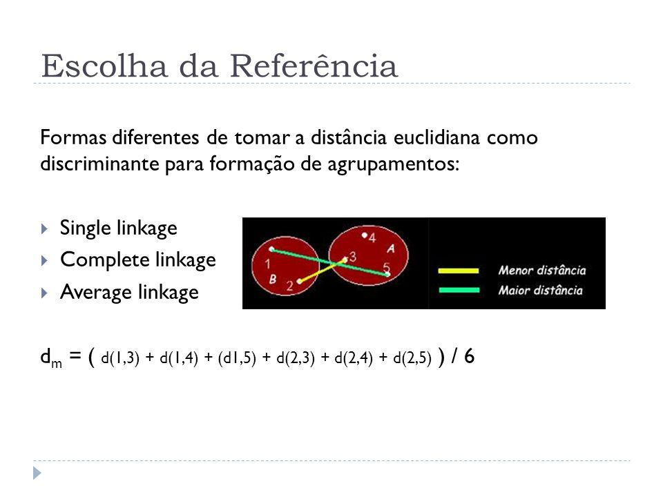 Escolha da Referência Formas diferentes de tomar a distância euclidiana como discriminante para formação de agrupamentos: Single linkage Complete link