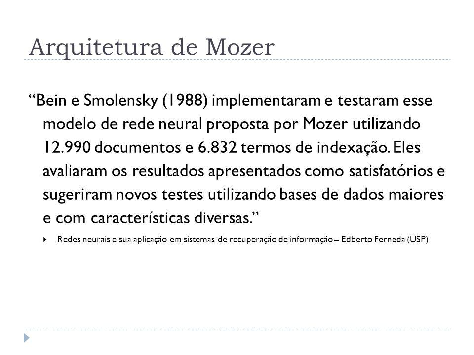Bein e Smolensky (1988) implementaram e testaram esse modelo de rede neural proposta por Mozer utilizando 12.990 documentos e 6.832 termos de indexaçã