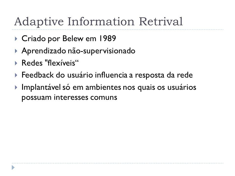 Adaptive Information Retrival Criado por Belew em 1989 Aprendizado não-supervisionado Redes