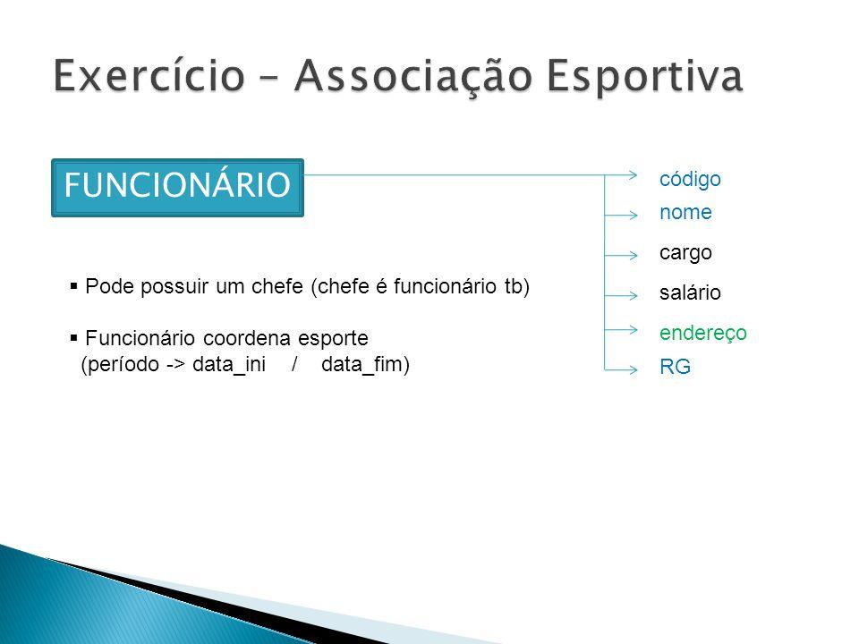 FUNCIONÁRIO código nome cargo salário endereço RG Pode possuir um chefe (chefe é funcionário tb) Funcionário coordena esporte (período -> data_ini / data_fim)