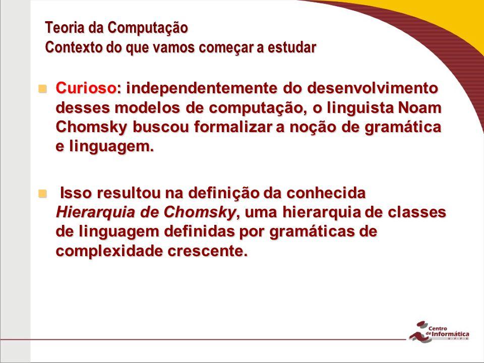 Teoria da Computação Contexto do que vamos começar a estudar Curioso: independentemente do desenvolvimento desses modelos de computação, o linguista Noam Chomsky buscou formalizar a noção de gramática e linguagem.