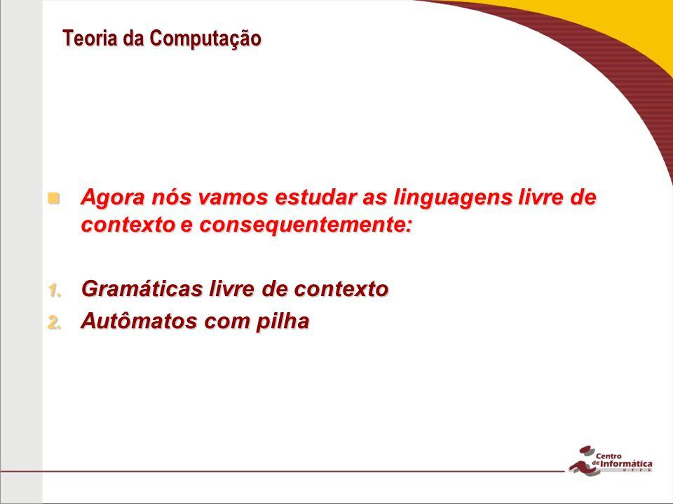 Teoria da Computação Agora nós vamos estudar as linguagens livre de contexto e consequentemente: Agora nós vamos estudar as linguagens livre de contex