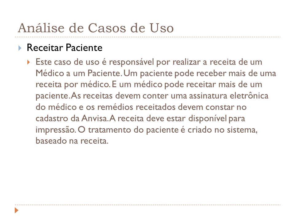 Análise de Casos de Uso Receitar Paciente Este caso de uso é responsável por realizar a receita de um Médico a um Paciente. Um paciente pode receber m