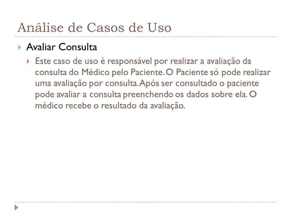 Análise de Casos de Uso Avaliar Consulta Este caso de uso é responsável por realizar a avaliação da consulta do Médico pelo Paciente. O Paciente só po