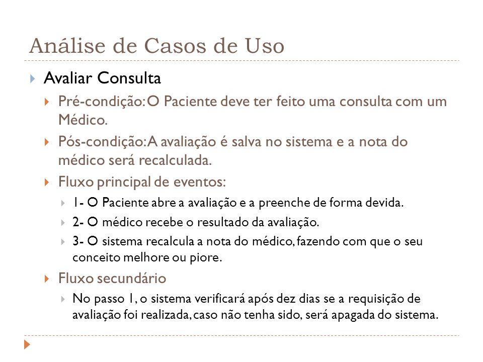 Análise de Casos de Uso Avaliar Consulta Pré-condição: O Paciente deve ter feito uma consulta com um Médico. Pós-condição: A avaliação é salva no sist