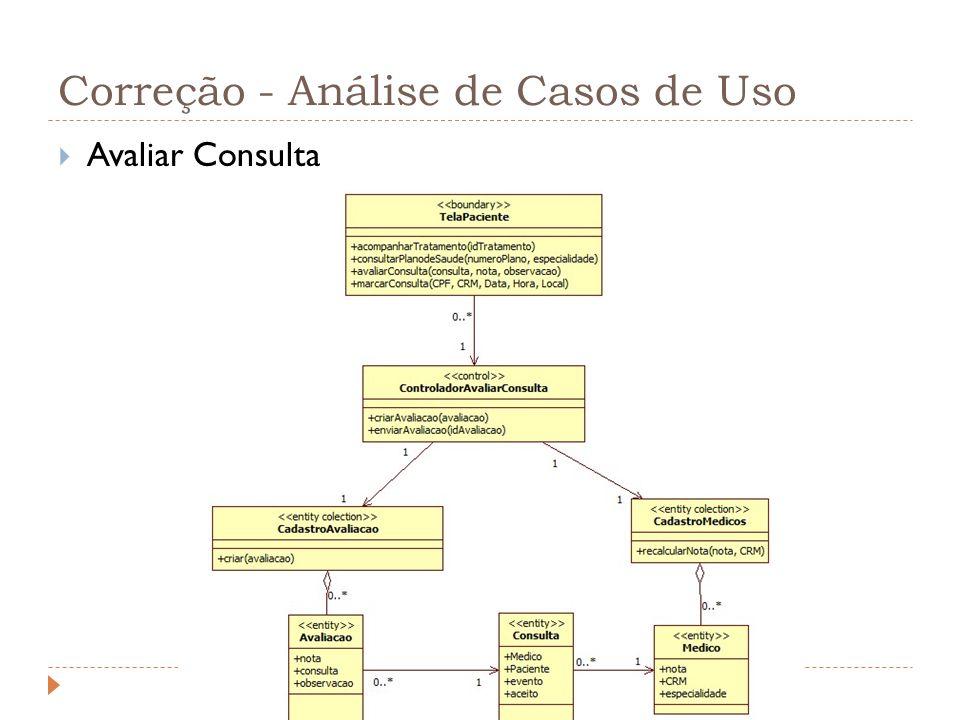 Correção - Análise de Casos de Uso Avaliar Consulta