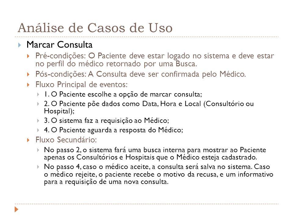 Análise de Casos de Uso Marcar Consulta Pré-condições: O Paciente deve estar logado no sistema e deve estar no perfil do médico retornado por uma Busc