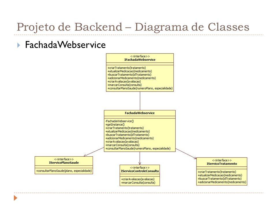 Projeto de Backend – Diagrama de Classes FachadaWebservice