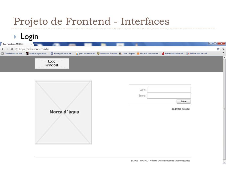 Projeto de Frontend - Interfaces Login