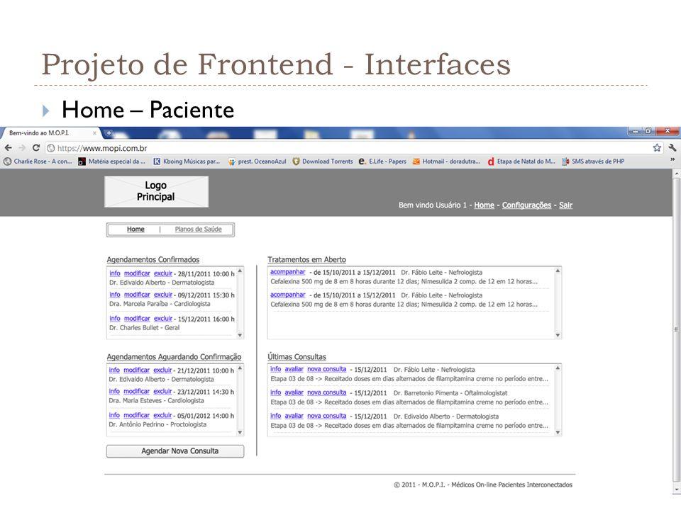 Projeto de Frontend - Interfaces Home – Paciente