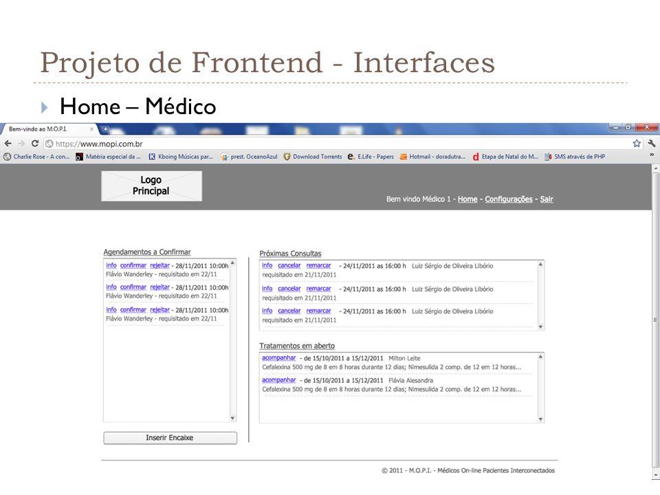 Projeto de Frontend - Interfaces Home – Médico