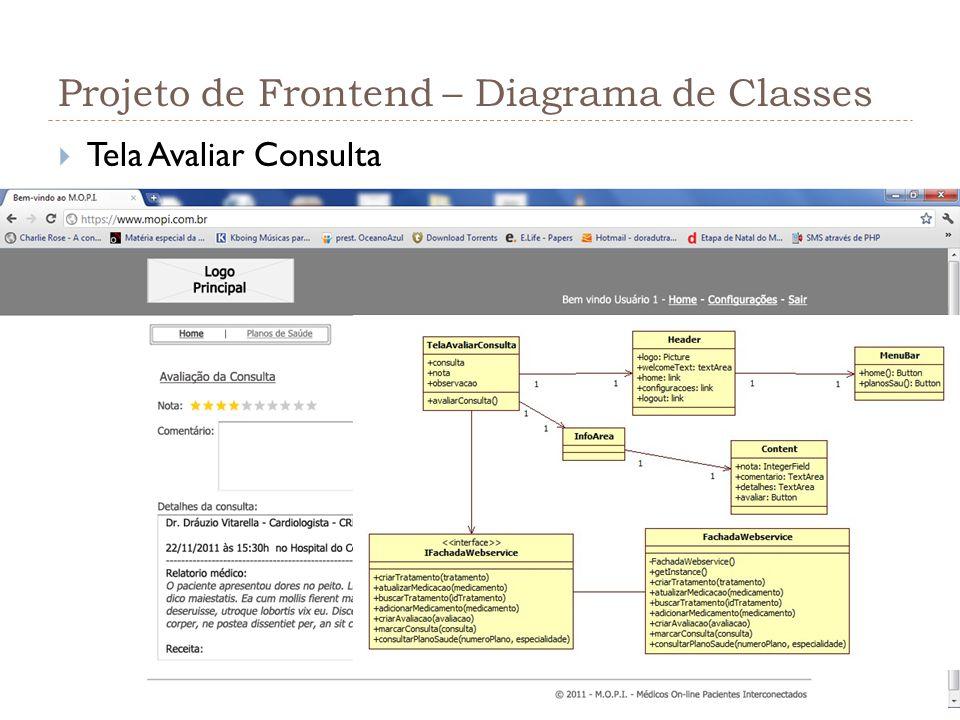 Projeto de Frontend – Diagrama de Classes Tela Avaliar Consulta