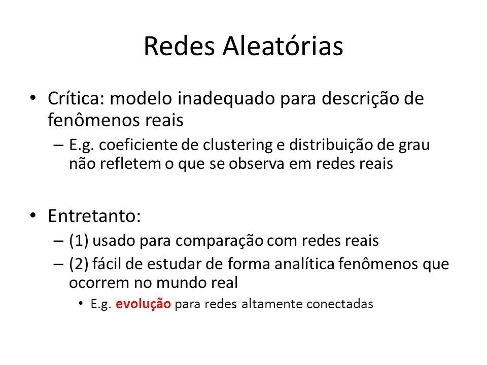 Redes Aleatórias Crítica: modelo inadequado para descrição de fenômenos reais – E.g.