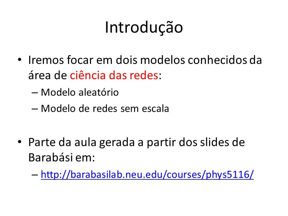 Introdução Iremos focar em dois modelos conhecidos da área de ciência das redes: – Modelo aleatório – Modelo de redes sem escala Parte da aula gerada a partir dos slides de Barabási em: – http://barabasilab.neu.edu/courses/phys5116/ http://barabasilab.neu.edu/courses/phys5116/