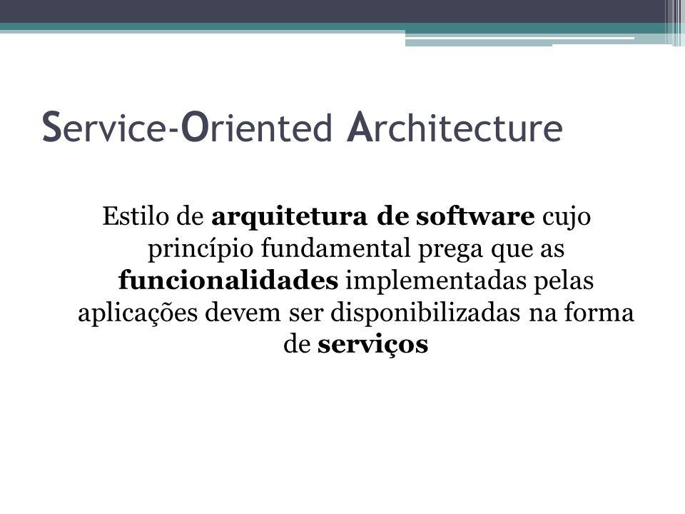 S ervice- O riented A rchitecture Estilo de arquitetura de software cujo princípio fundamental prega que as funcionalidades implementadas pelas aplica