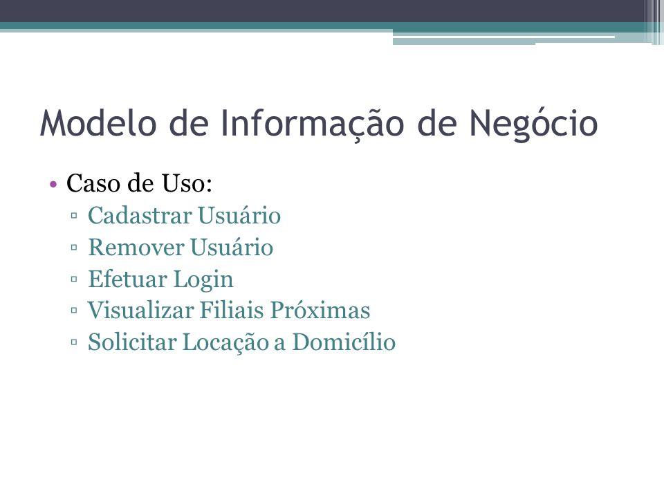 Modelo de Informação de Negócio Caso de Uso: Cadastrar Usuário Remover Usuário Efetuar Login Visualizar Filiais Próximas Solicitar Locação a Domicílio