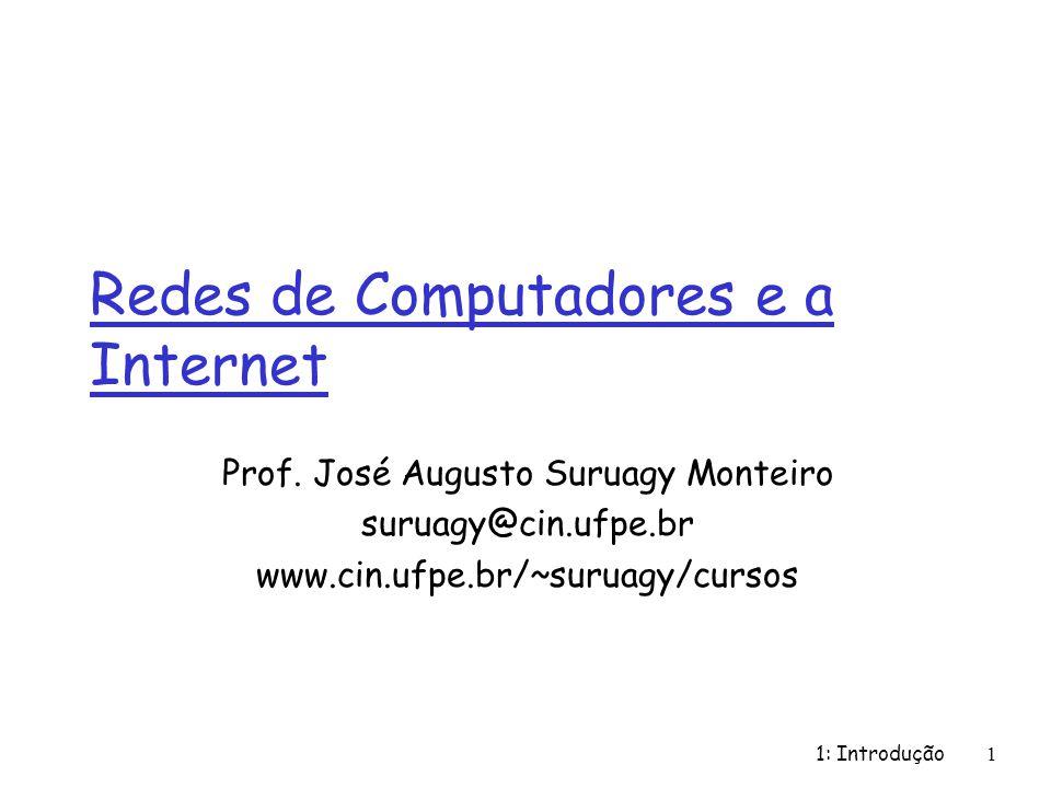 1: Introdução102 História da Internet r 1972: m demonstração pública da ARPAnet m NCP (Network Control Protocol) primeiro protocolo host-host m primeiro programa de e-mail m ARPAnet com 15 nós 1961-1972: Estréia da comutação de pacotes