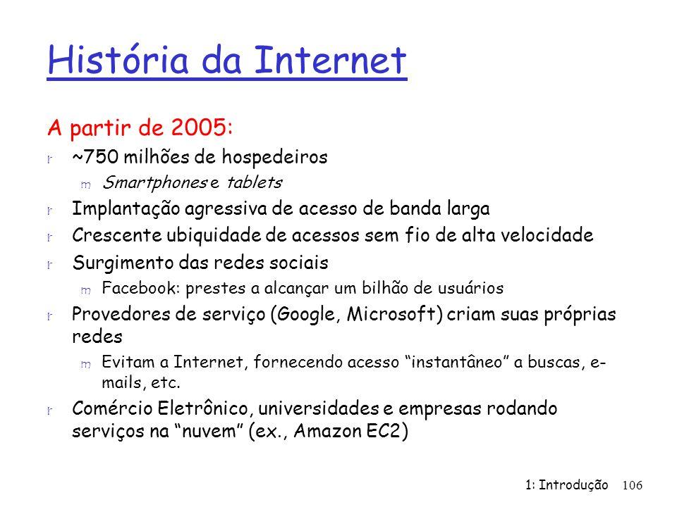 História da Internet A partir de 2005: r ~750 milhões de hospedeiros m Smartphones e tablets r Implantação agressiva de acesso de banda larga r Cresce