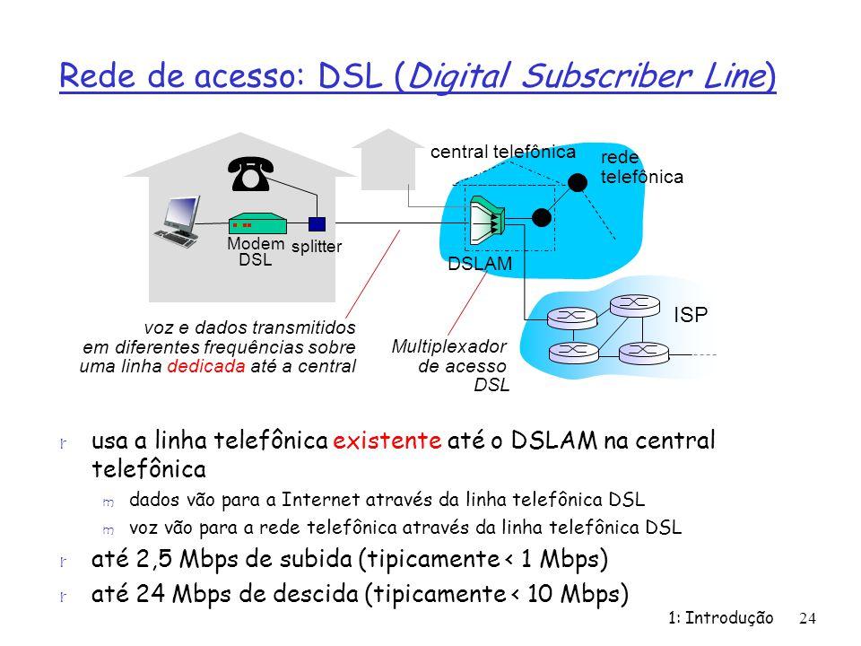 Rede de acesso: DSL (Digital Subscriber Line) r usa a linha telefônica existente até o DSLAM na central telefônica m dados vão para a Internet através