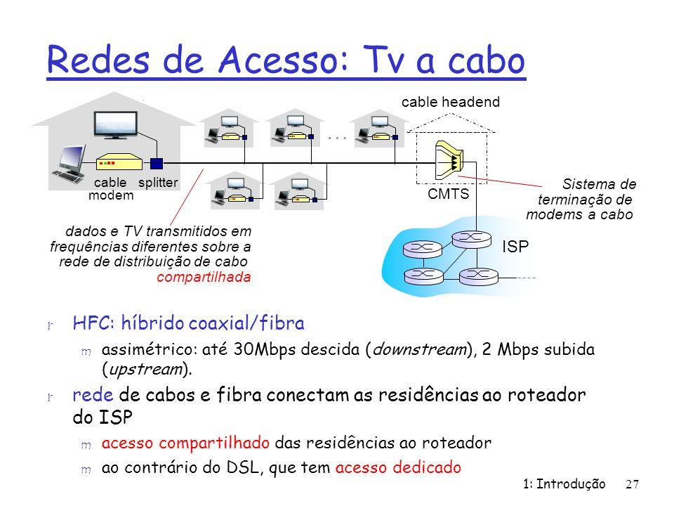 Redes de Acesso: Tv a cabo r HFC: híbrido coaxial/fibra m assimétrico: até 30Mbps descida (downstream), 2 Mbps subida (upstream). r rede de cabos e fi