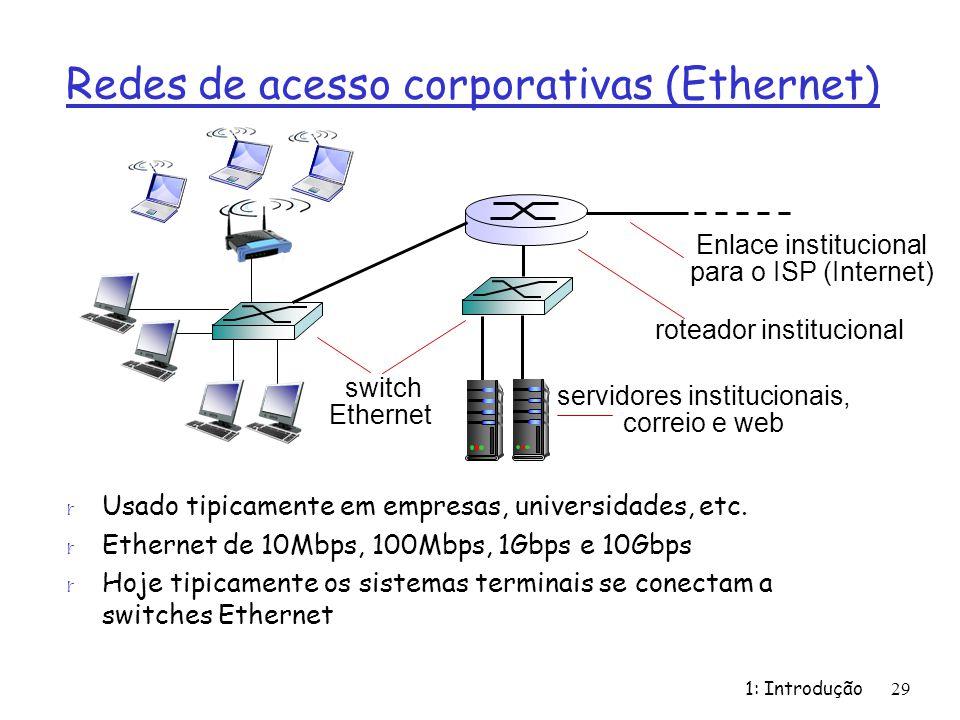 Redes de acesso corporativas (Ethernet) r Usado tipicamente em empresas, universidades, etc. r Ethernet de 10Mbps, 100Mbps, 1Gbps e 10Gbps r Hoje tipi